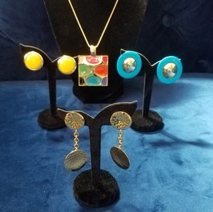 Vintage clip-on earrings and colorful necklace lot